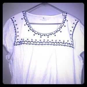 Boden embroidered blue white shirt plus size 18
